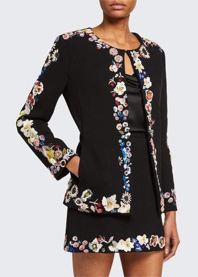 Edith Sequined Floral-Trim Jacket