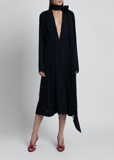Scarf-Neck Georgette Dress