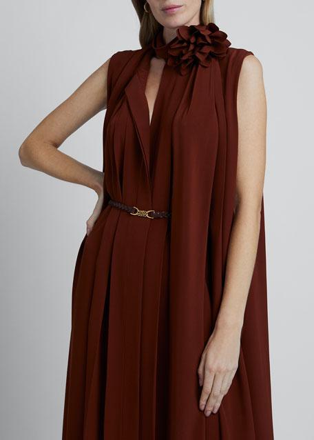 Scarf-Neck Sleeveless Crepe De Chine Silk Dress
