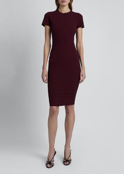 Short-Sleeve Crewneck Fitted Dress