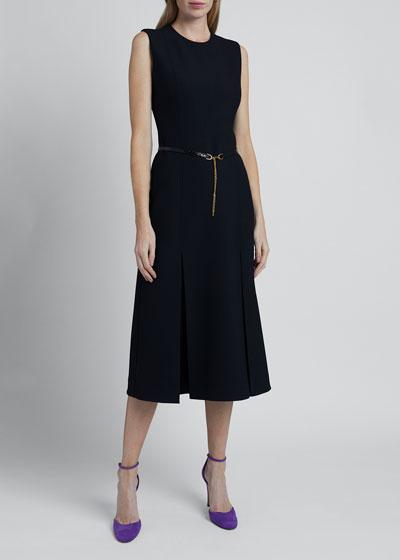 Wool-Silk Pleated Dress