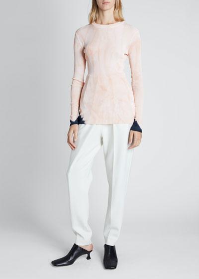 Viscose Rib Tie Dye Long-Sleeve Crewneck Sweater