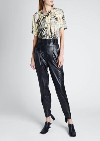 Leather High-Waist Pants W Ties