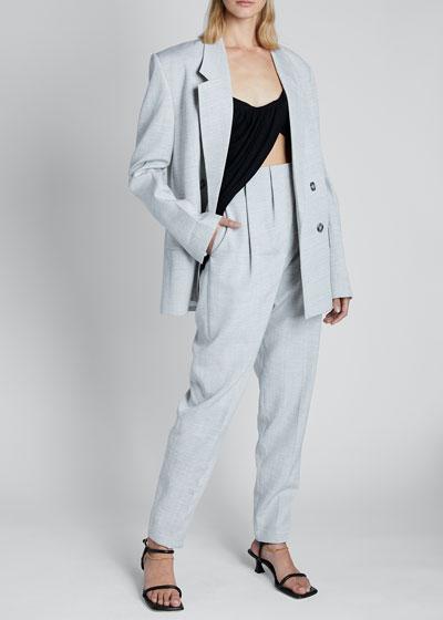 Viscose Long-Sleeve Double-Breasted Blazer Jacket