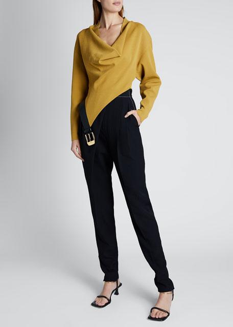 Italian Knit Long-Sleeve Cowl-Neck Sweater With Belt