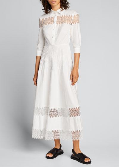 3/4-Sleeve Cotton Midi Shirtdress w/ Lace Insets