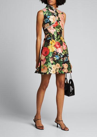 Floral Taffeta Cocktail Dress