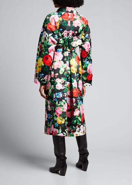 Floral Long-Sleeve Belted Trench Collar