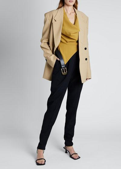 Long-Sleeve  Double-Breasted Blazer Jacket
