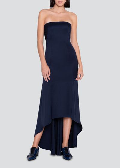 Stretch Silk Strapless High-Low Dress