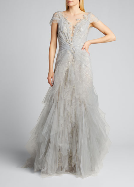 Tulle-Draped Lace Gown
