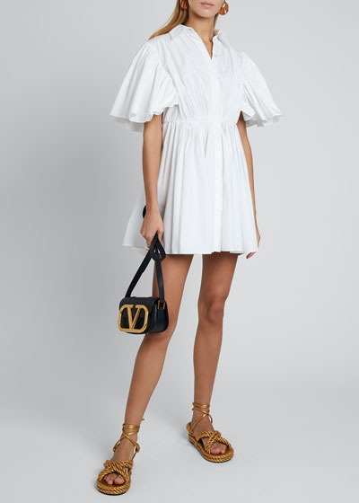 Short-Sleeve Pleated Cape Cotton Shirtdress