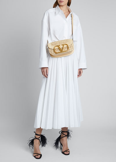 Pleated Long Cotton Skirt