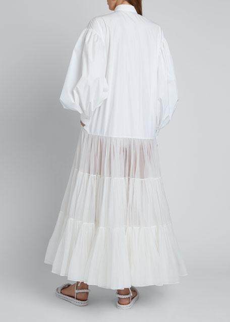 Long Puff-Sleeve Techno Cotton & Tulle Dress