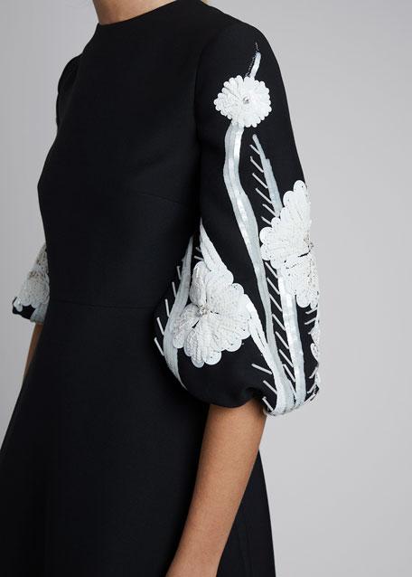 Crepe Bell-Sleeve Crepe Dress