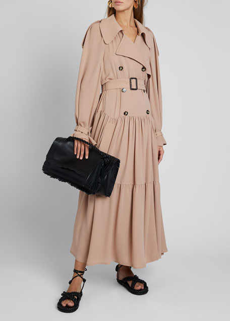 Silk Trench Coat With Leather Details