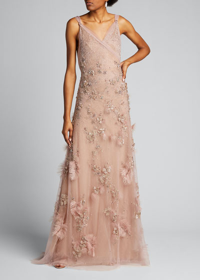 Embroidered Tulle V-Neck Gown