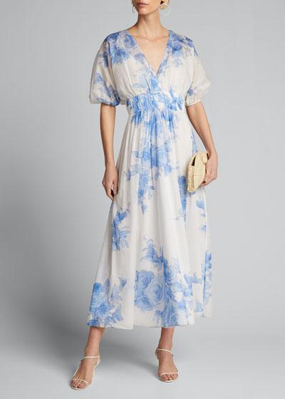 Floral-Print Chiffon Puff-Sleeve Dress