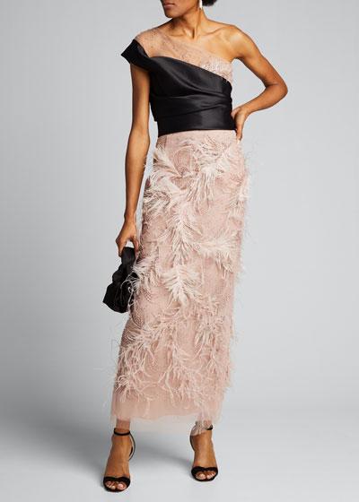 Feather-Trim Satin & Tulle Illusion Column Gown