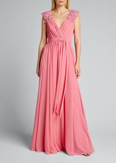 Floral-Shoulder Chiffon Gown