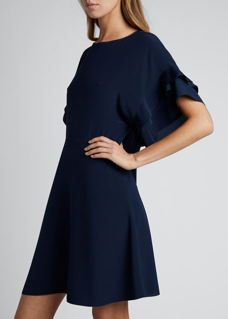 Silk Crepe Short-Sleeve Crewneck Dress