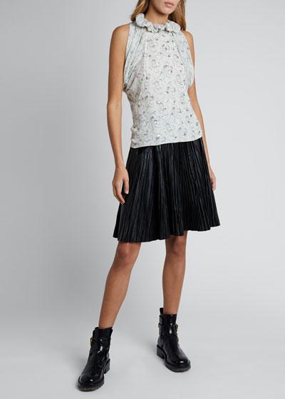 Floral Silk Georgette Short-Sleeve Halter-Neck Top