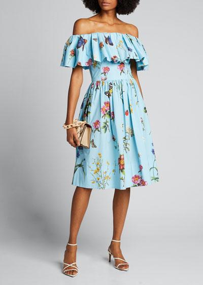 Off-the-Shoulder Floral-Pattern Day Dress