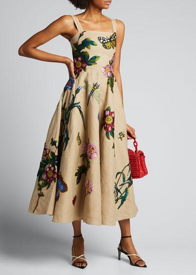 Linen Midi Dress with Floral Applique