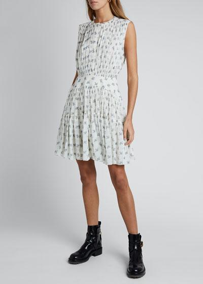 Floral Silk Georgette Sleeveless Hi-Neck Dress
