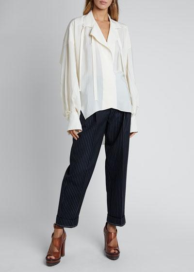 Silk Jacquard Long-Sleeve Tie-Neck Blouse