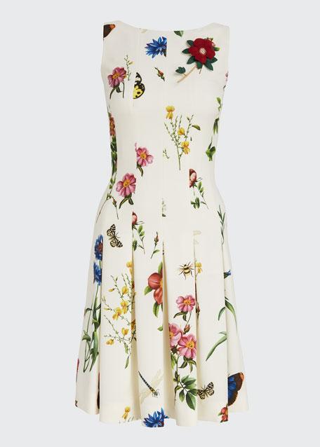 Floral Print Pleated Dress
