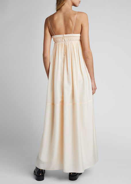 Silk Spaghetti-Strap Square-Neck Dress