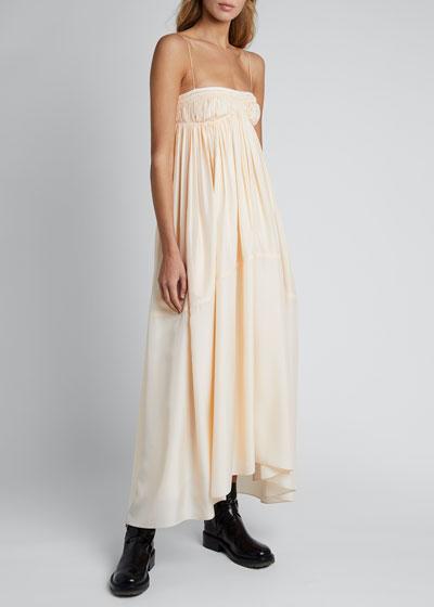 Silk Spaghetti-Strap Square-Neck Dress