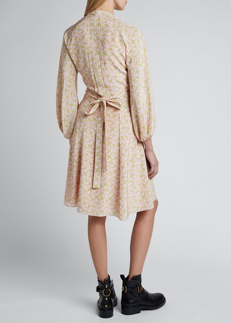 Floral Silk Georgette Long-Sleeve V-neck Dress