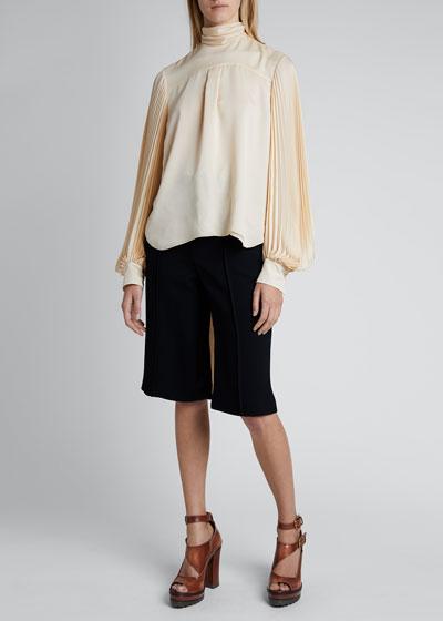Satin Silk Long-Sleeve High-Neck Tie-Back Blouse