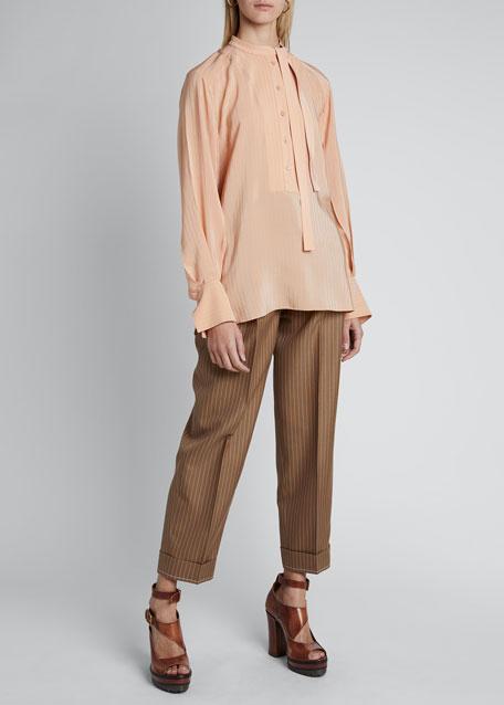 Silk Georgette Long-Sleeve Tie-Neck Pleat Blouse