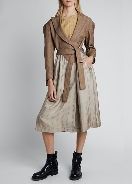 Cotton Long-Sleeve Collar Belted Trench Coat