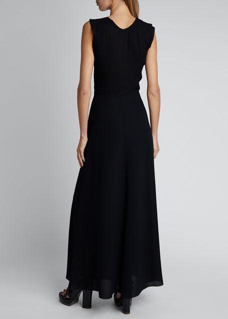 Embroidered Silk Crepe   Short-Sleeve Crewneck Dress