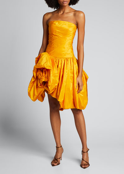 Strapless Taffeta Cocktail Dress with Floral Bottom