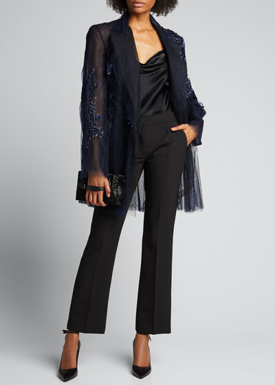 Flower-Embroidered Tulle Coat