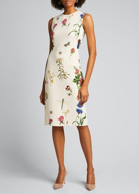 Floral Print Midi Sheath Dress