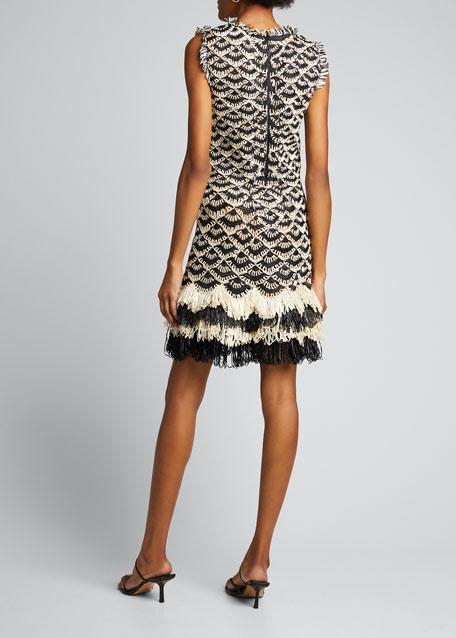 Crocheted Sleeveless Fringe-Hem Dress
