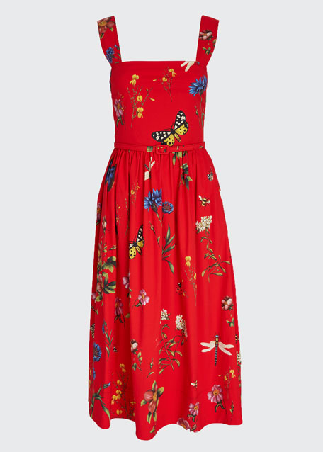 Sleeveless Floral Midi Cocktail Dress