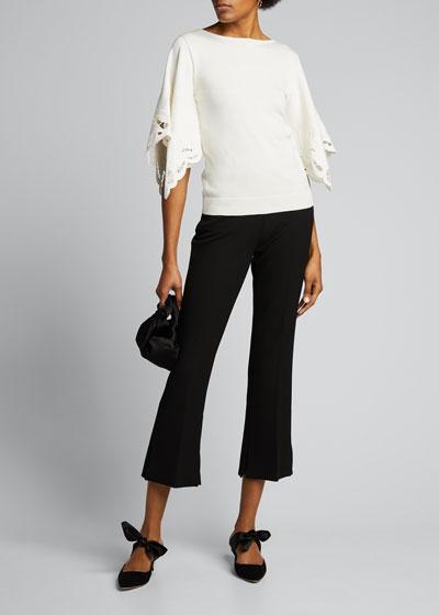 Scalloped-Sleeve Silk-Cotton Sweater