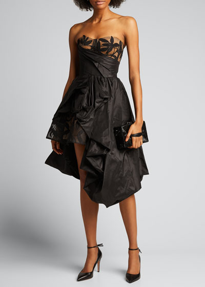 Taffeta Strapless Gown w/ Embroidery