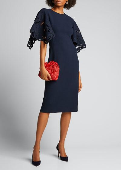 Flutter-Sleeve Straight Day Dress