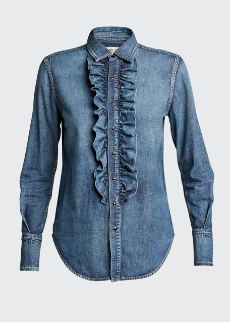 Ruffled Denim Shirt
