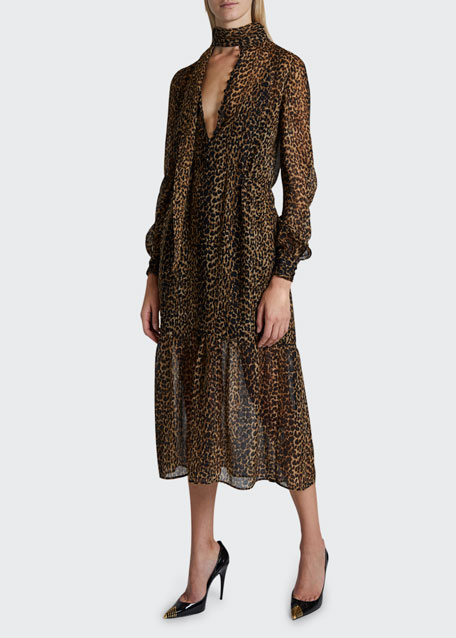 Image 1 of 1: Leopard Print Gauzy Dress