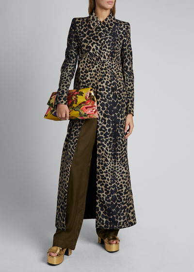 Leopard-Print Nylon Long Coat