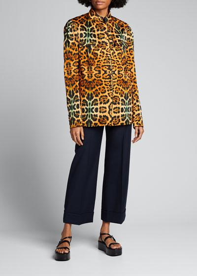 Leopard-Print Brocade Jacket